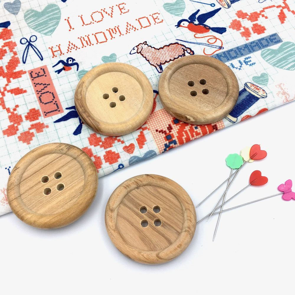 Large Wooden Natural Button - each - Frumble Fabrics