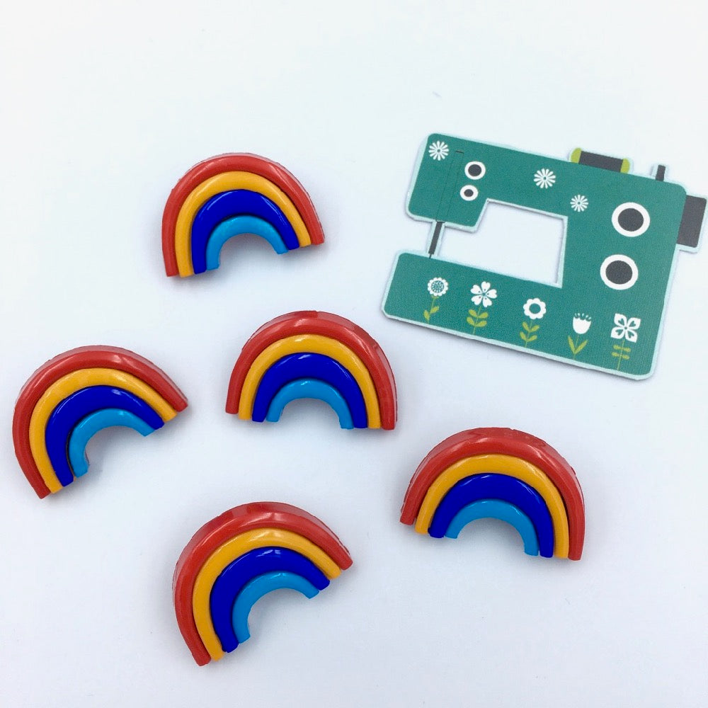 3D Rainbow Buttons 5 pack 25mm 1""