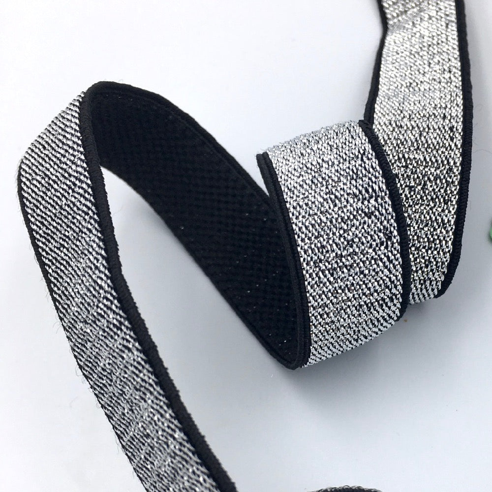 15mm Metallic Silver Elastic with Black Plush Soft Back - Frumble Fabrics