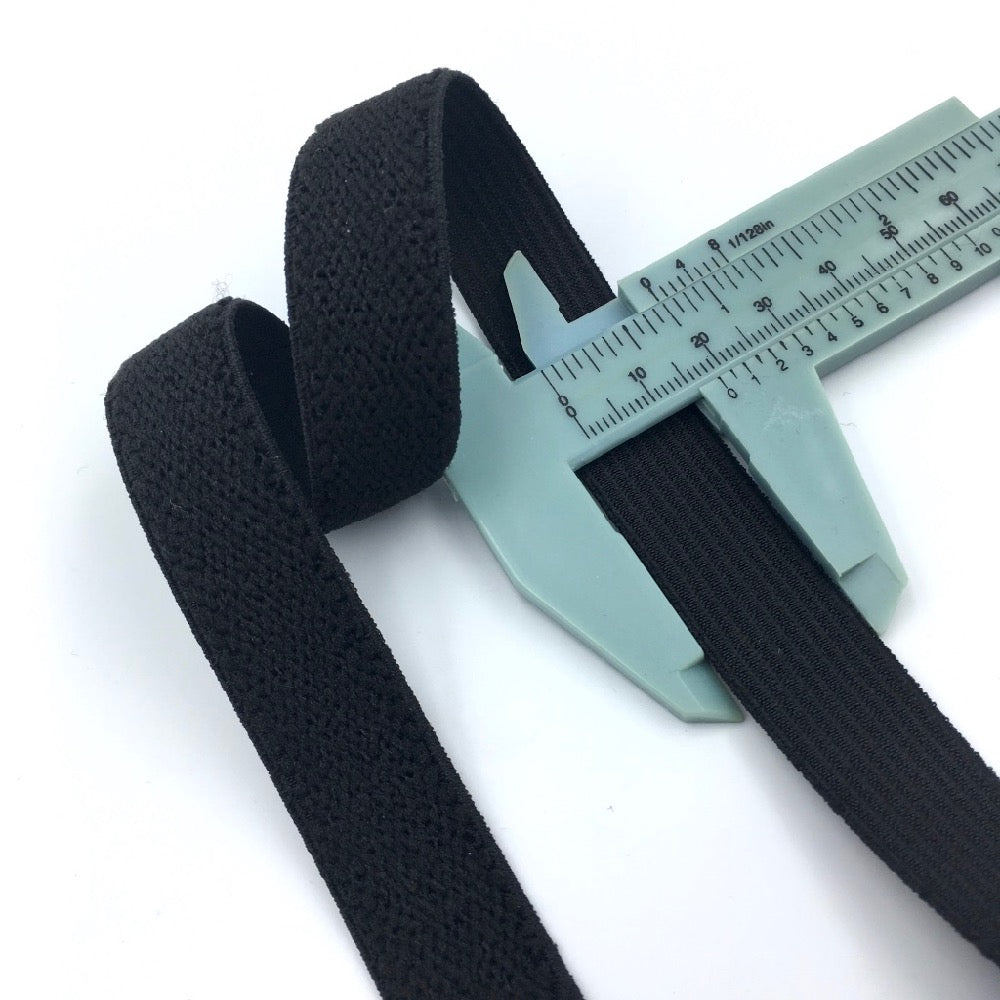 Waistband Elastic Plush Back 19mm Black - Frumble Fabrics