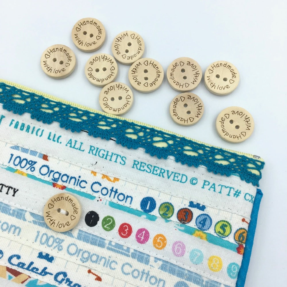"""Handmade With Love"" Wooden Buttons size 32 / 20 mm - 10 pack - Frumble Fabrics"