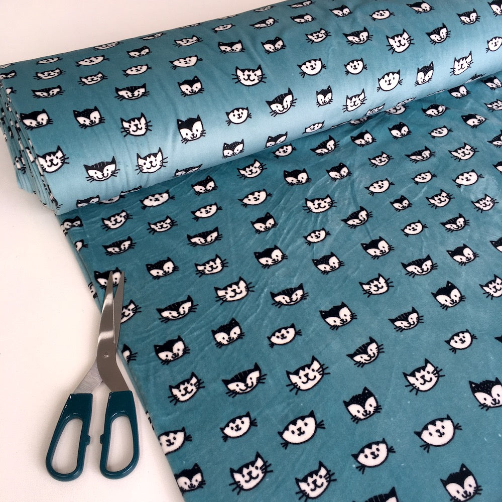 Happy Cat Faces Stretchy Soft Velour in Teal - Frumble Fabrics