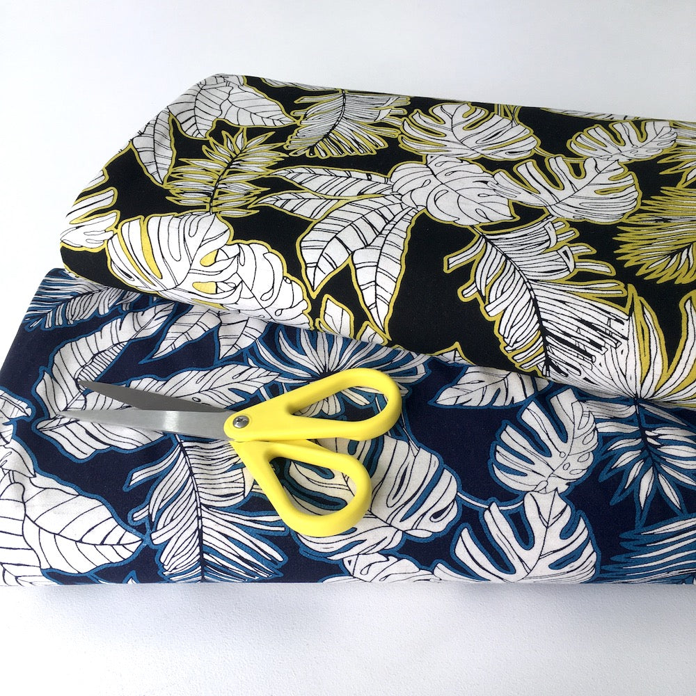 Tropical Foliage Linen Viscose in Yellow Black - Frumble Fabrics
