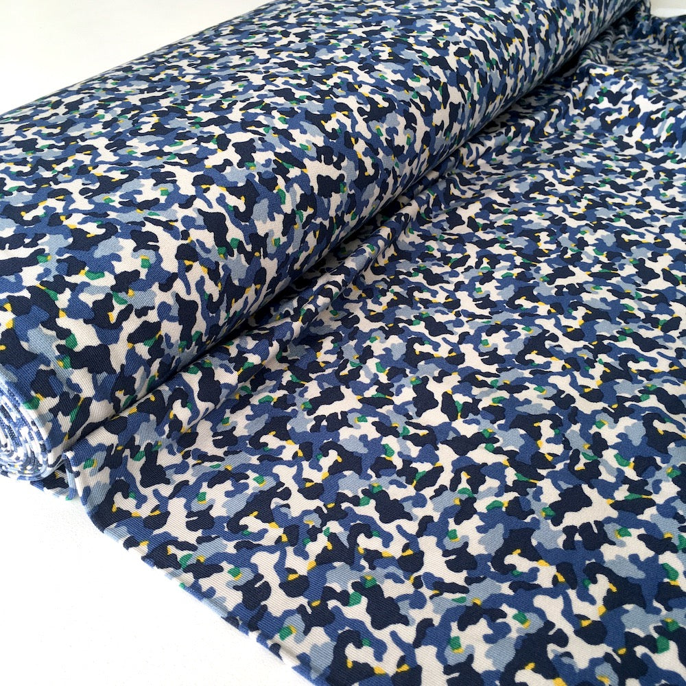 Mini Camouflage Modal French Terry in Blue - Frumble Fabrics