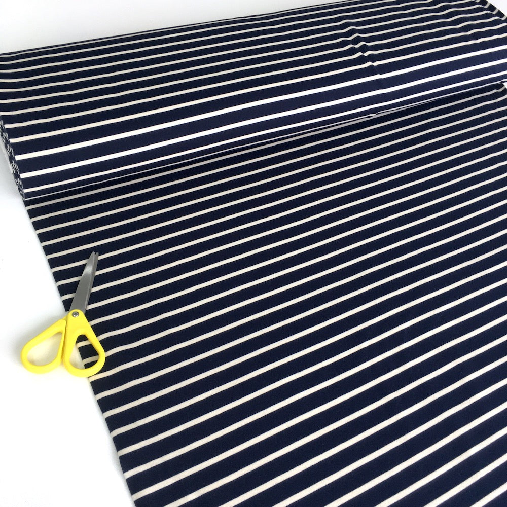 Solid Stripe Yarn Dyed French Terry in Navy - Frumble Fabrics