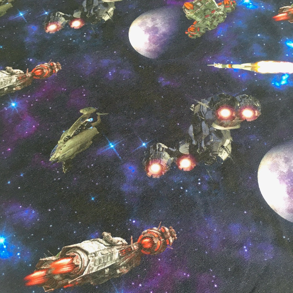 Spaceships Wars Digital Printed Jersey in Navy - Frumble Fabrics