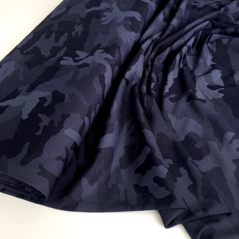 Camouflage Fit Knit Sport Technical Jersey Dark Navy - Frumble Fabrics