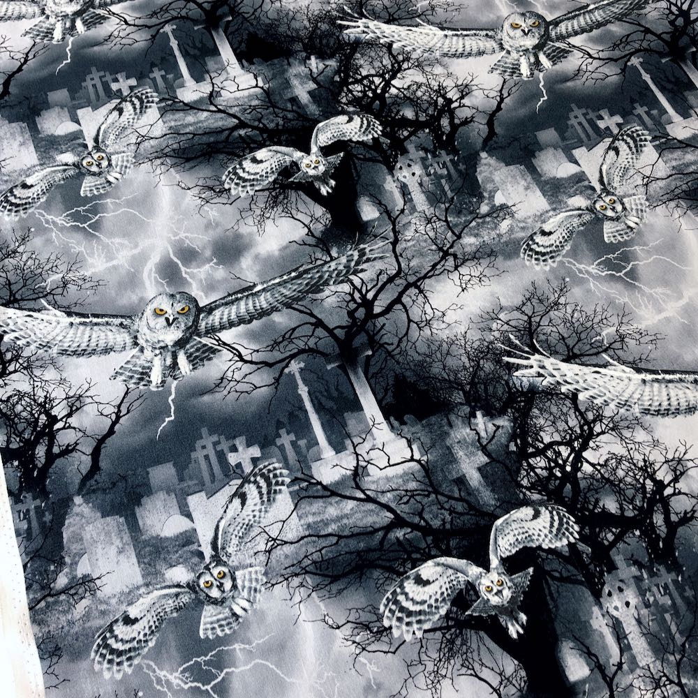 Owls in the Graveyard Night Fabric by Timeless Treasures