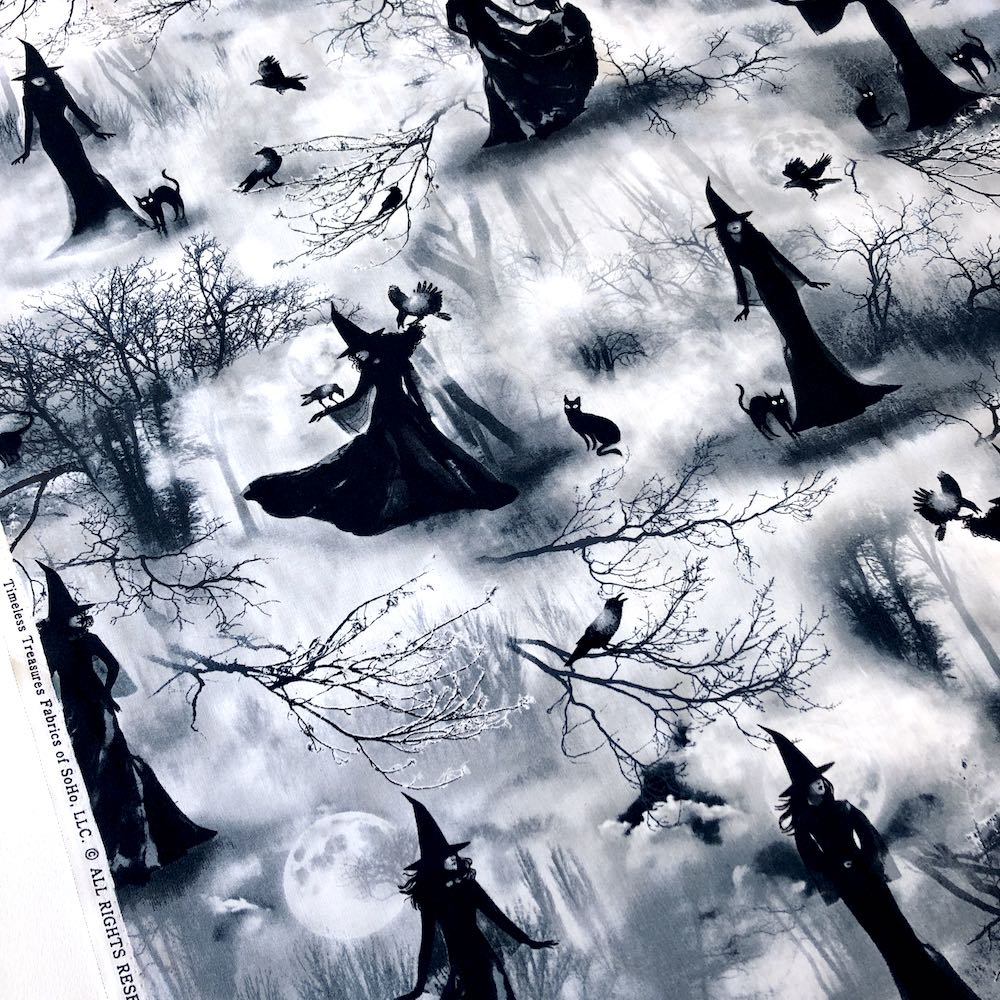 Spooky Witch Grey - Frumble Fabrics