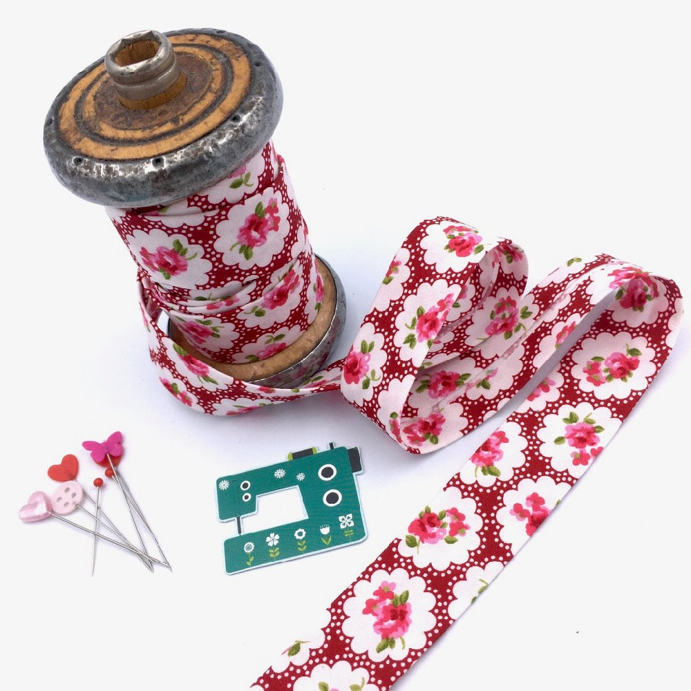 Monica Special: Handmade Bias Binding - Country Flower - Frumble Fabrics