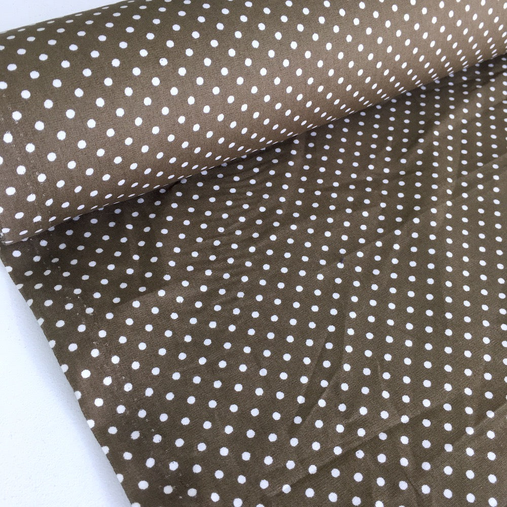Mini 3mm Polka Dot Milk Chocolate Brown (Per Metre) - Frumble Fabrics