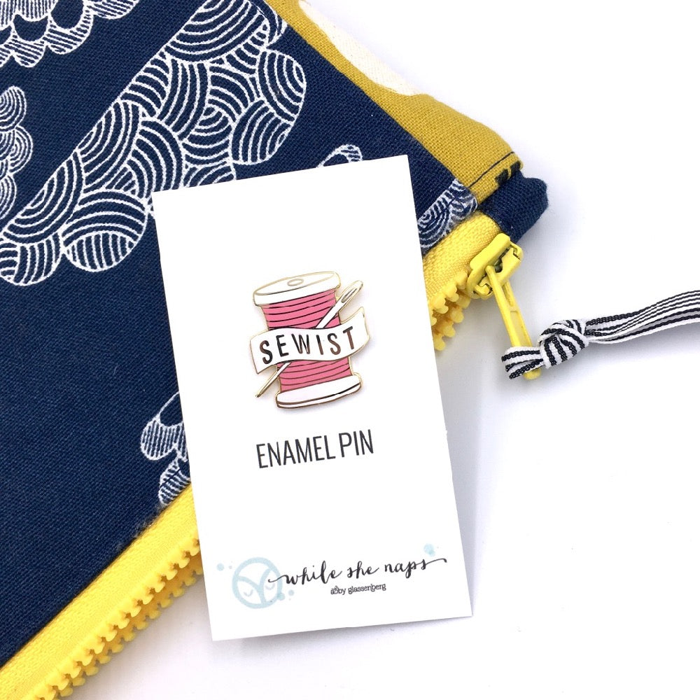 Sewist Pink Enamel Pin by While She Naps - Frumble Fabrics