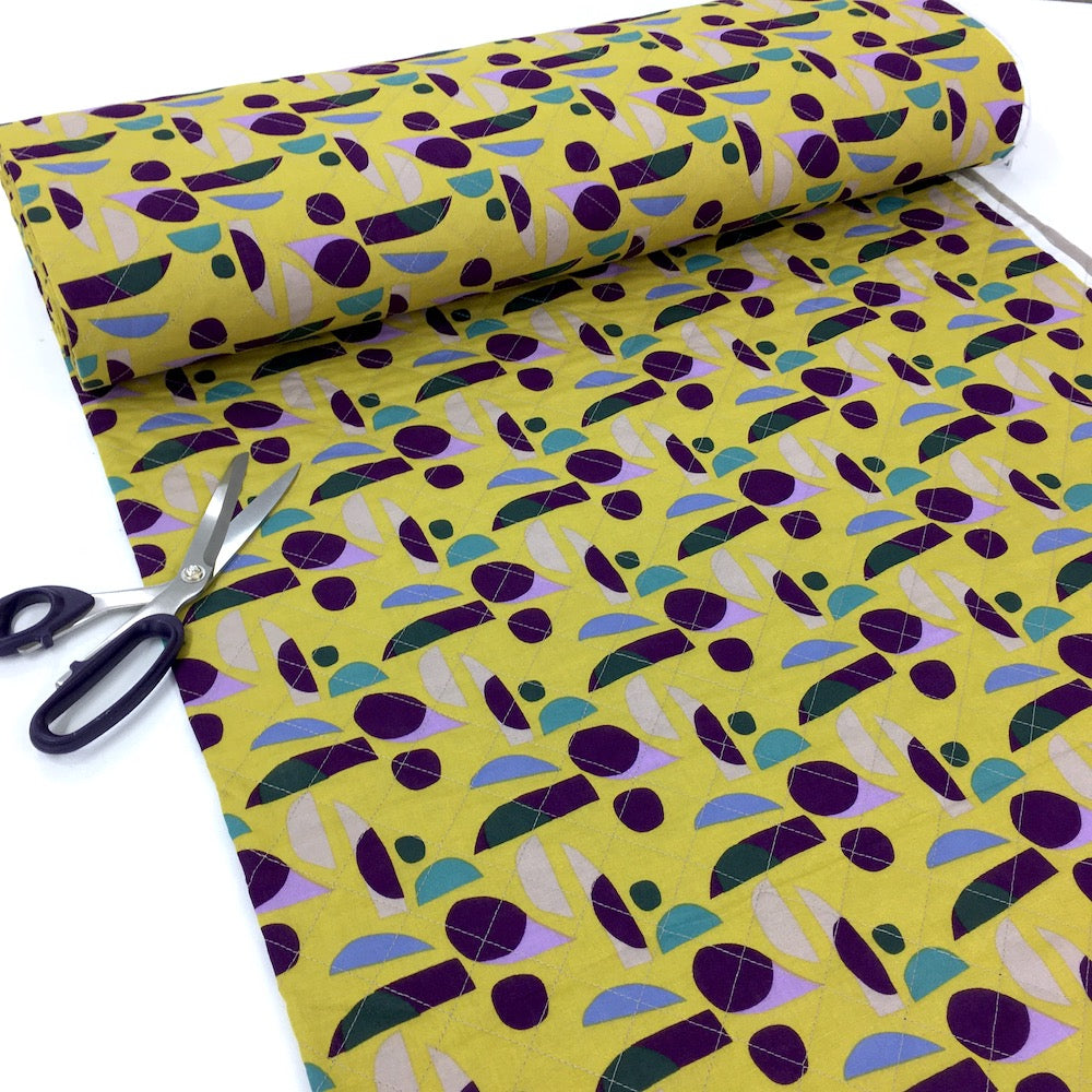 Candy Shapes - Pre-Quilted Double Sided Cotton - Yellow