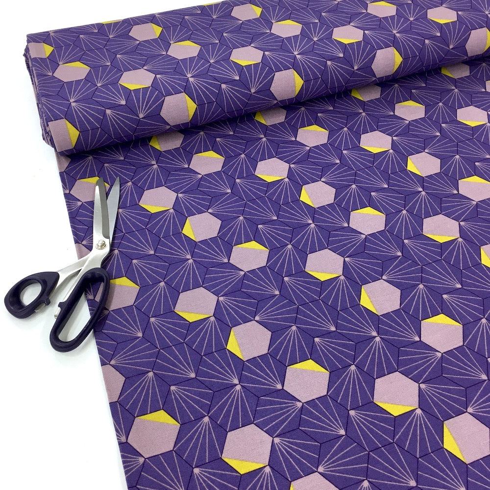 Retro Hexagons - Cotton Canvas - Lilac Purple