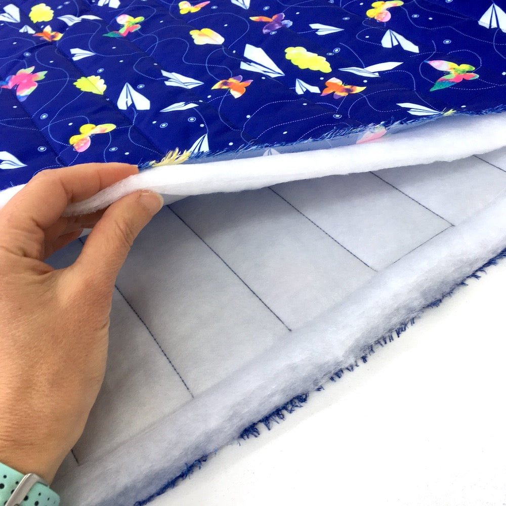 Chasing Paper Planes - Waterproof Puffer Fabric - Blue