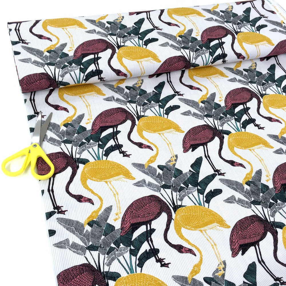 Beautiful Flamingos - Cotton Canvas - Ivory