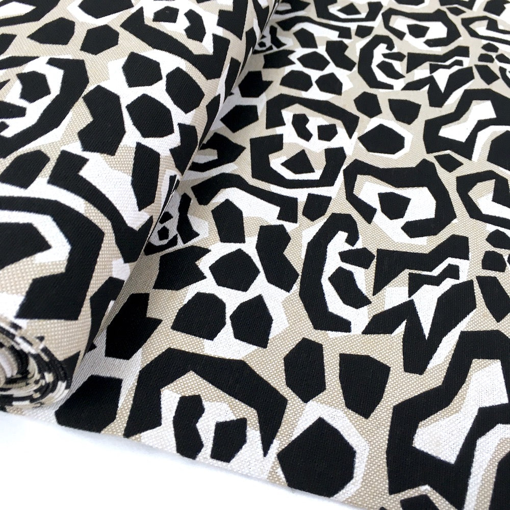 Edgy Animal Print - Canvas Linen Look - Black