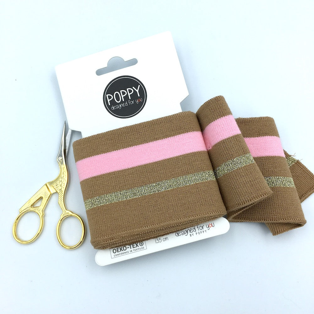 Cuffs by Poppy -  Soft Cinnamon with Pink and Gold Stripes