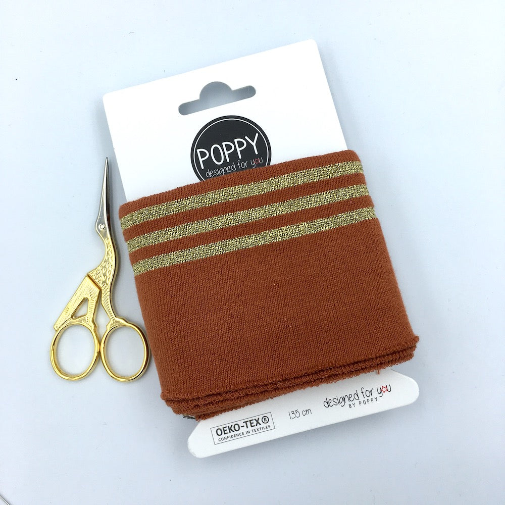 Cuffs by Poppy -  Terracotta Stripe Gold