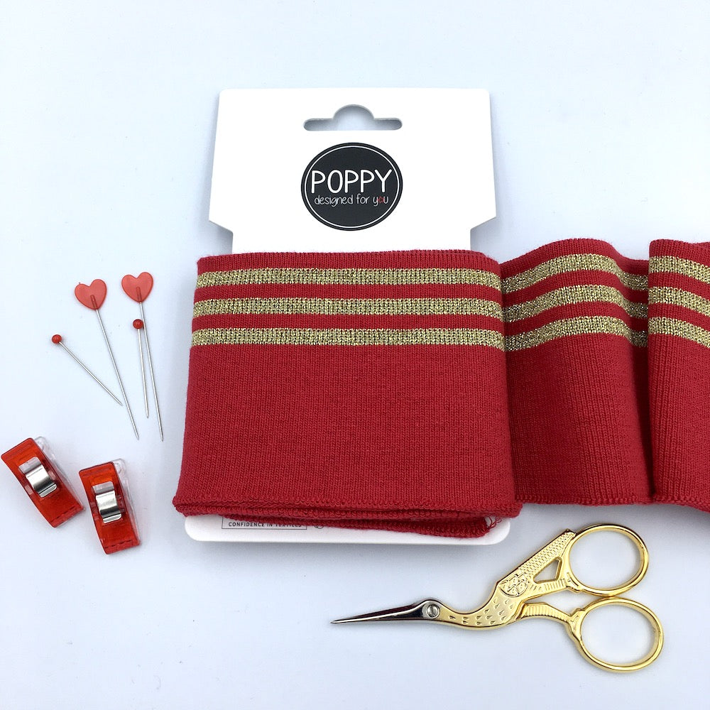 Cuffs by Poppy -  Red & 3 Gold Stripes Spatrkle