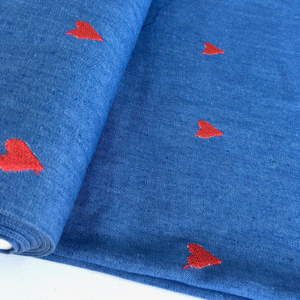 Embroidered Red Hearts - Cotton Chambray Denim - Blue
