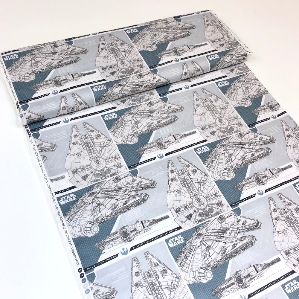 Star Wars The Last Jedi Millennium Falcon In Lead - Frumble Fabrics