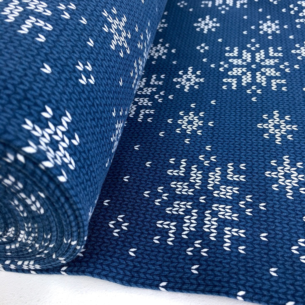 Knit and Purl Christmas Snowflake - Brushed French Terry - Blue