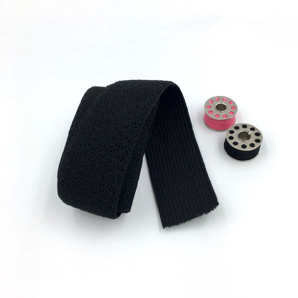 Waistband Elastic Plush Back 30mm Black