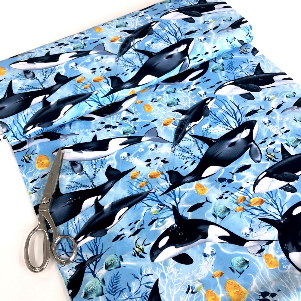 Swimming Killer Whales Blue - Frumble Fabrics