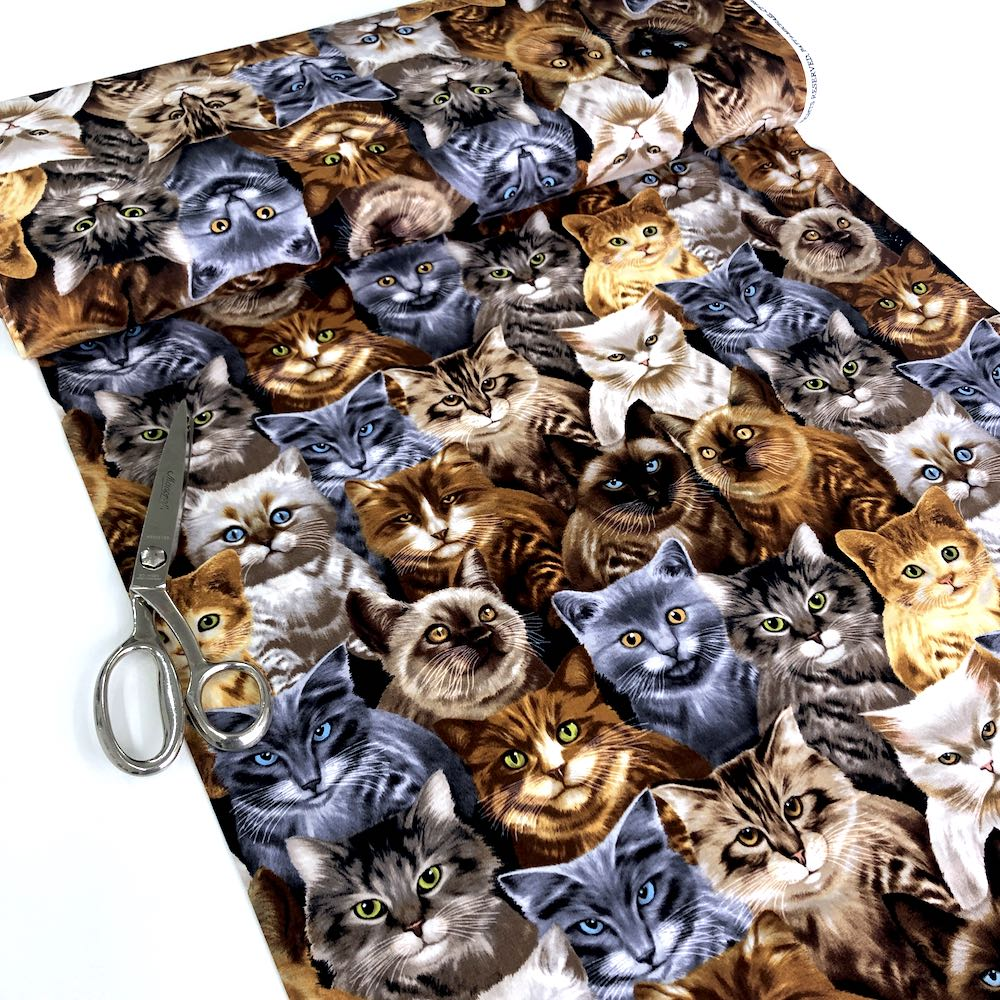 Cats by Michael Searle Natural - Frumble Fabrics