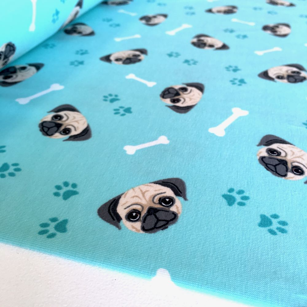 Pug Heads Blue Jersey Print Fabric by Various