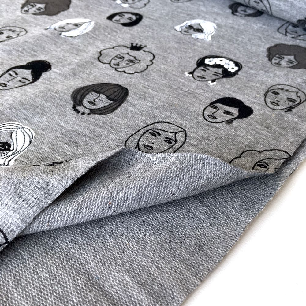 Ladies Faces Grey Printed French Terry - Frumble Fabrics
