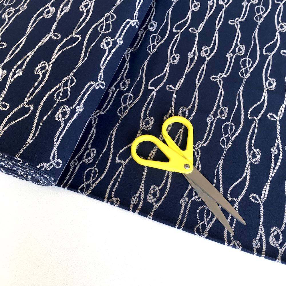 Nautical Rope Knots Navy Jersey Print - Frumble Fabrics