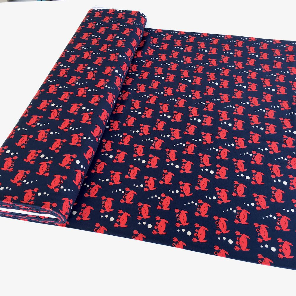Cool Red Crabs Navy Jersey Print - Frumble Fabrics