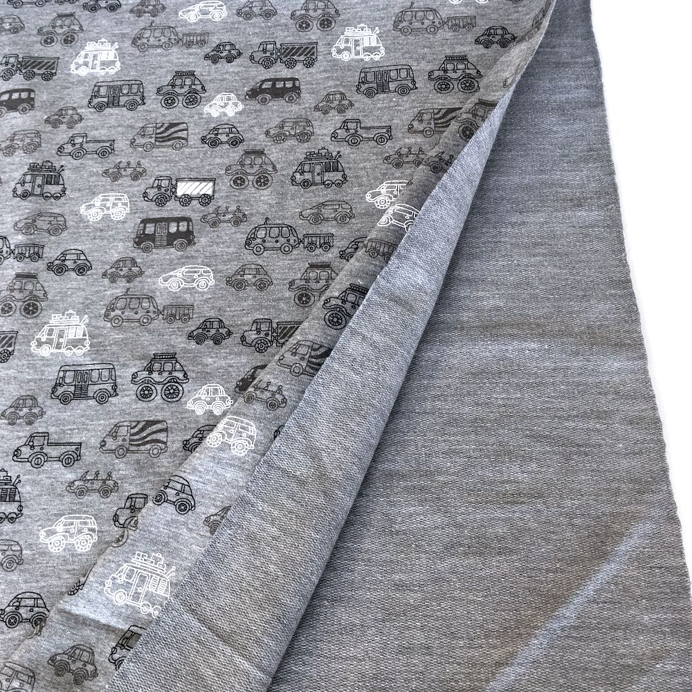 Cool Cars Grey Printed French Terry - Frumble Fabrics