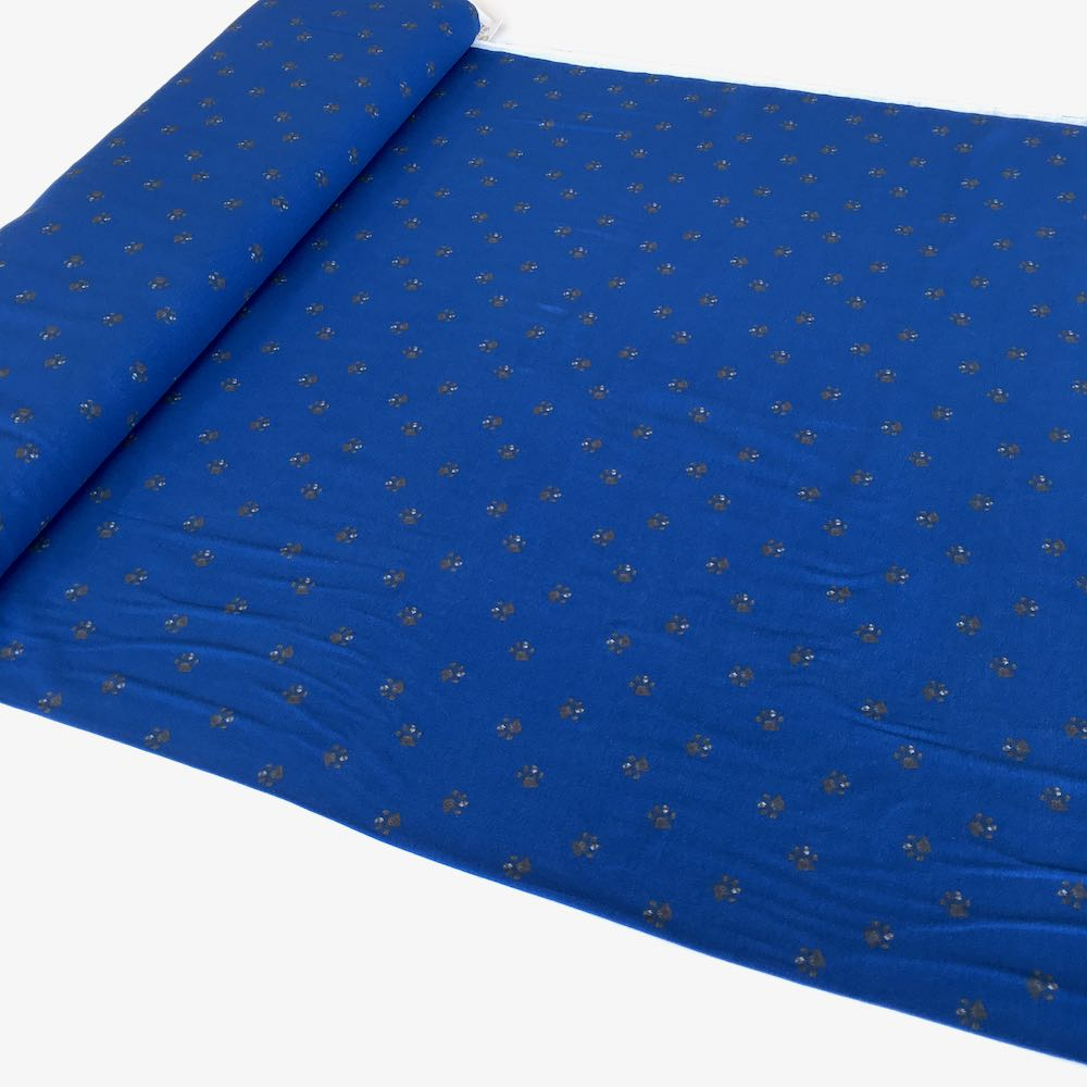 Paw Prints Blue Jersey Print Fabric