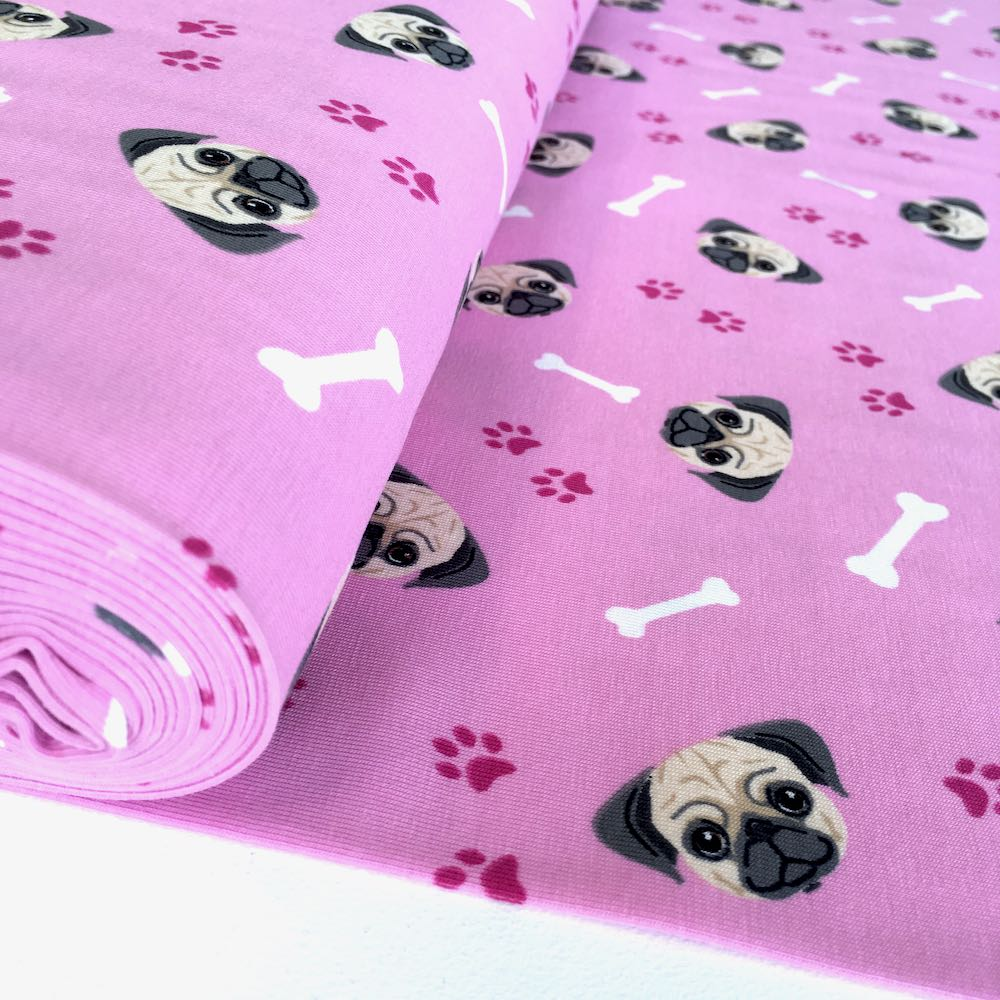 Pug Heads Pink Jersey Print Fabric by Various