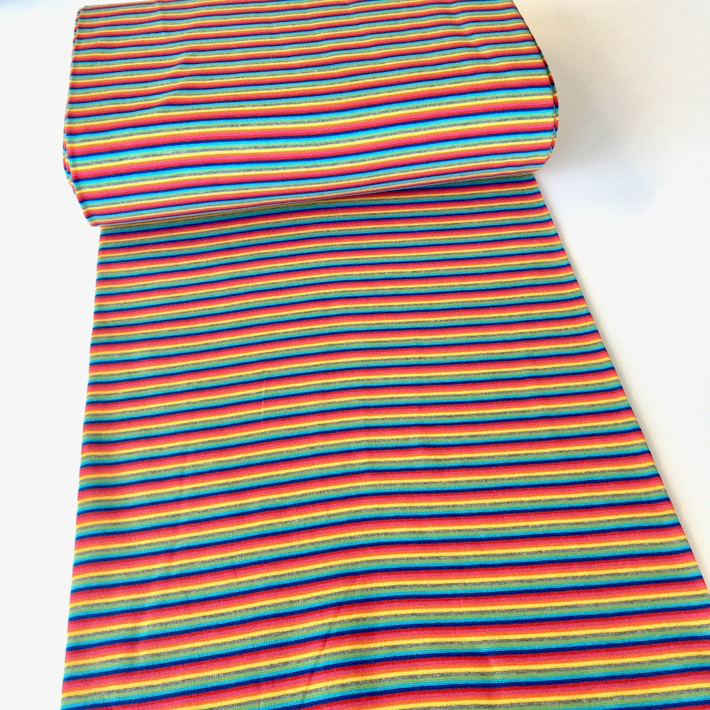 Rainbow Tube Stripe Cotton Ribbing Tube - Frumble Fabrics