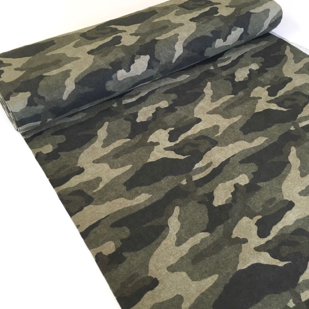 Camouflage Green Brushed Back French Terry - Frumble Fabrics