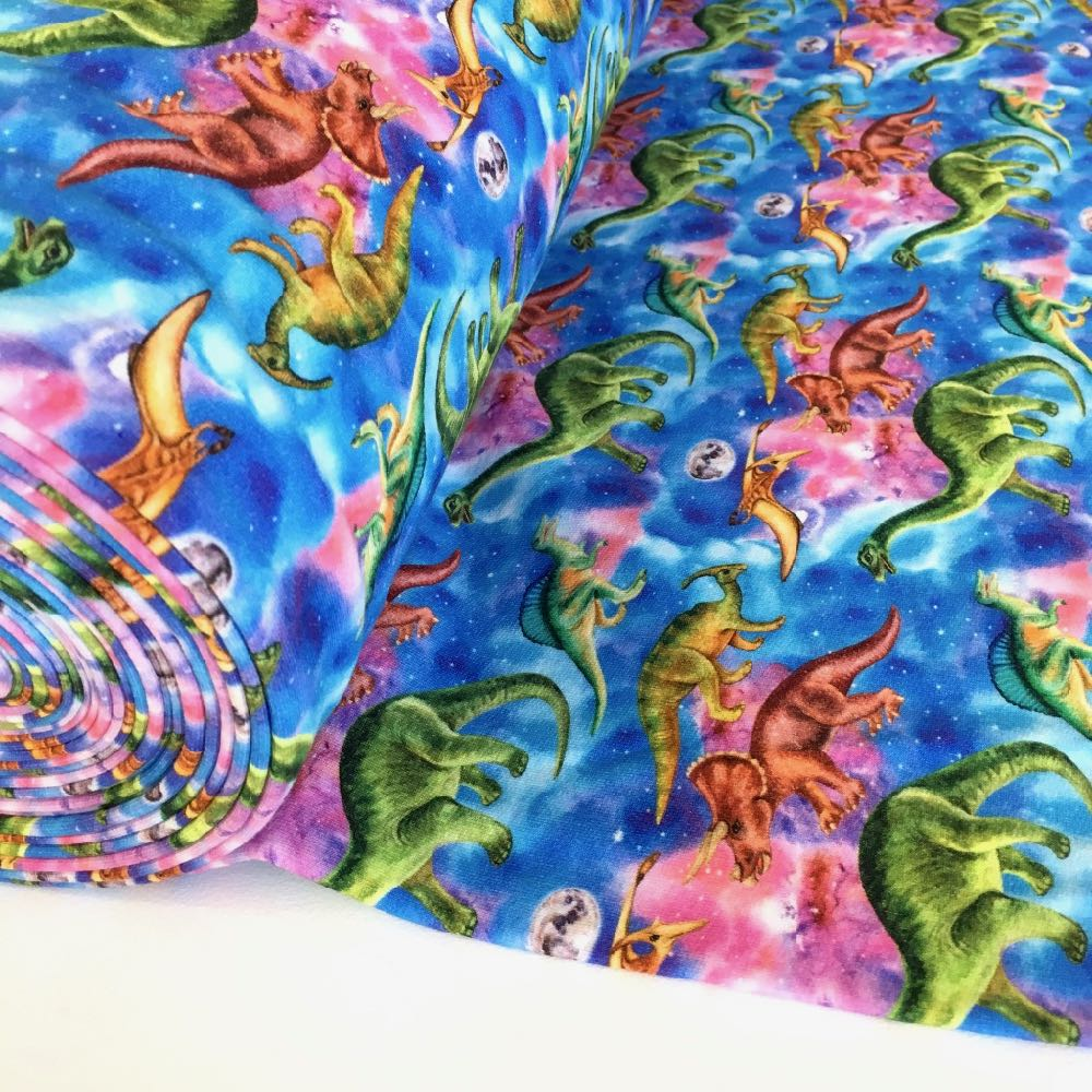 Galactic Dinosaurs Soft Brushed Back Sweater Jersey Fabric Cute Giraffes Grey Soft Brushed Back Sweater Jersey fabric perfect for jumpers, jogging bottoms and other dressmaking