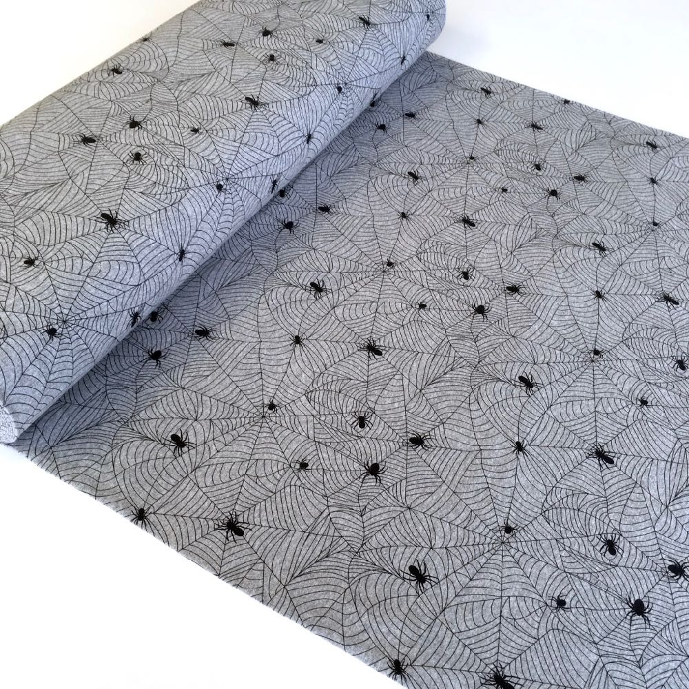 Spiders Web Grey Printed French Terry Fabric. Perfect for dresses, jumpers or tops and bottoms and other sewing and dressmaking projects.
