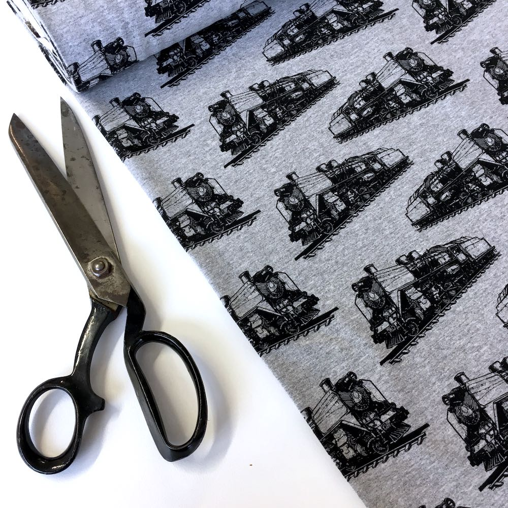 Steam Train Grey Printed French Terry - Frumble Fabrics