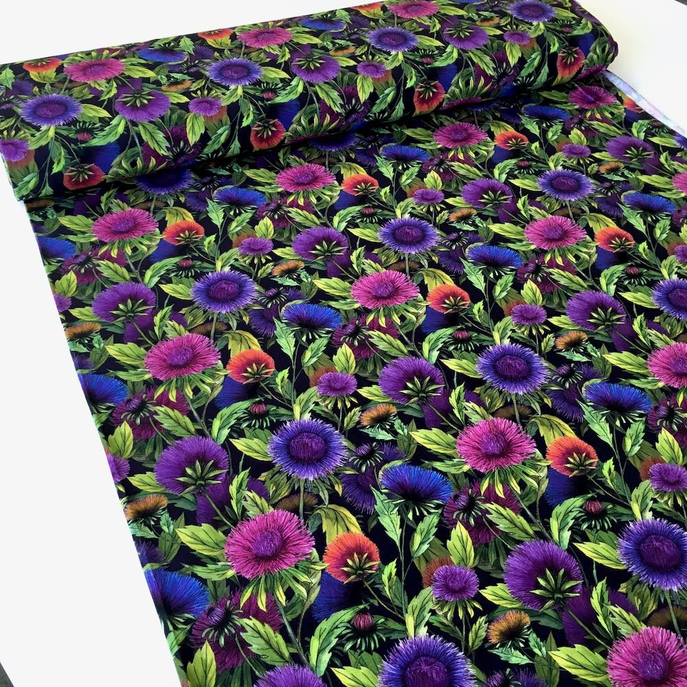 Wild Flowers Allover Stretch Jersey Print Fabric. Perfect for dresses, tops, tshirts and other sewing and dressmaking projects.