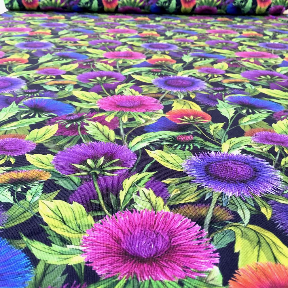 Wild Flowers Allover Black Jersey Print - Frumble Fabrics