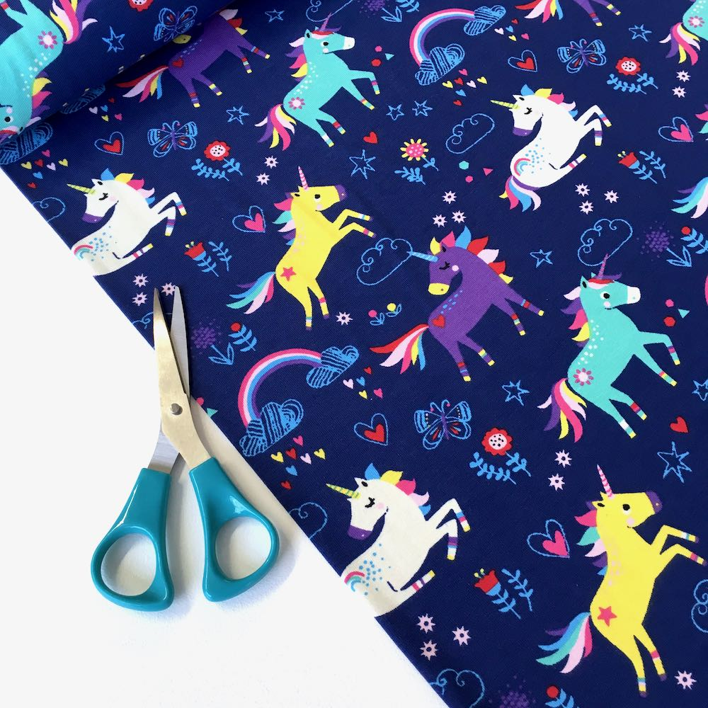 Multi Unicorns with Rainbows Navy Jersey Print - Frumble Fabrics