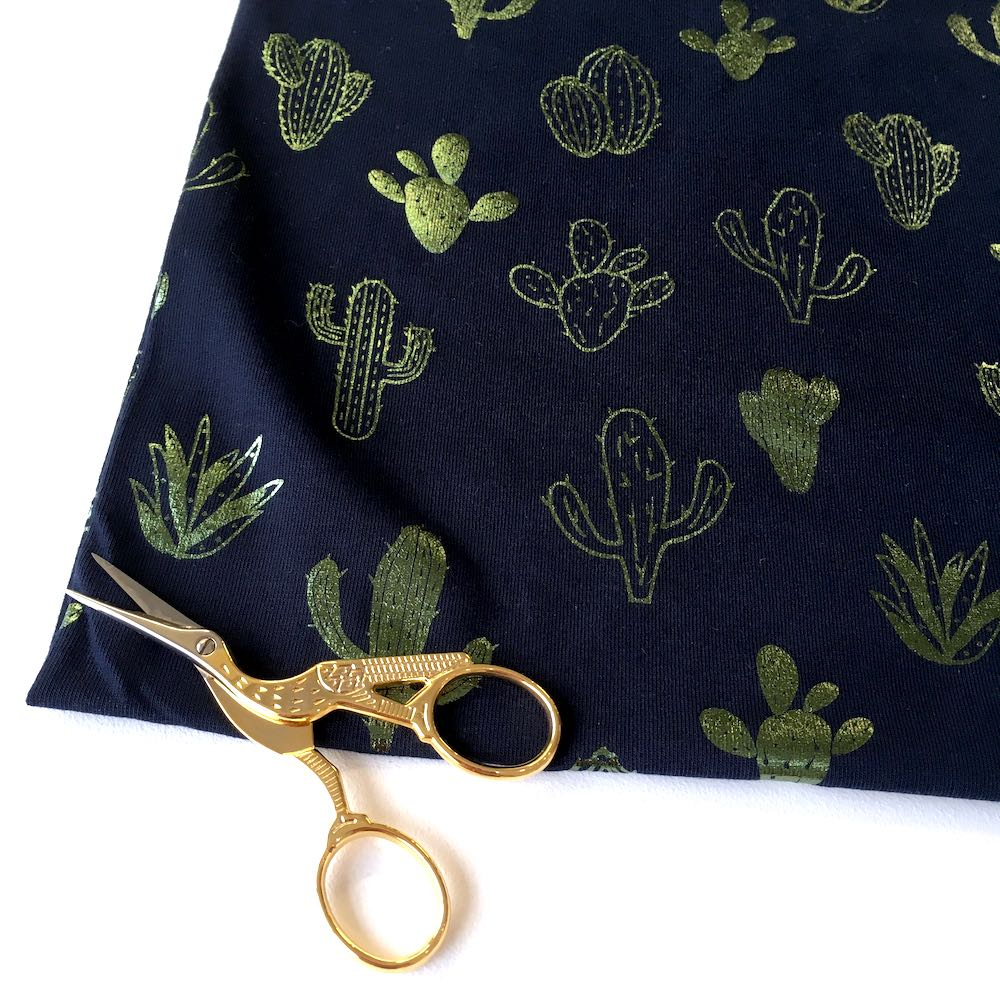 Cool Cactus Navy Green Foil Stretch Jersey Print Fabric perfect for dresses, top, tshirts and lots of other dressmaking projects