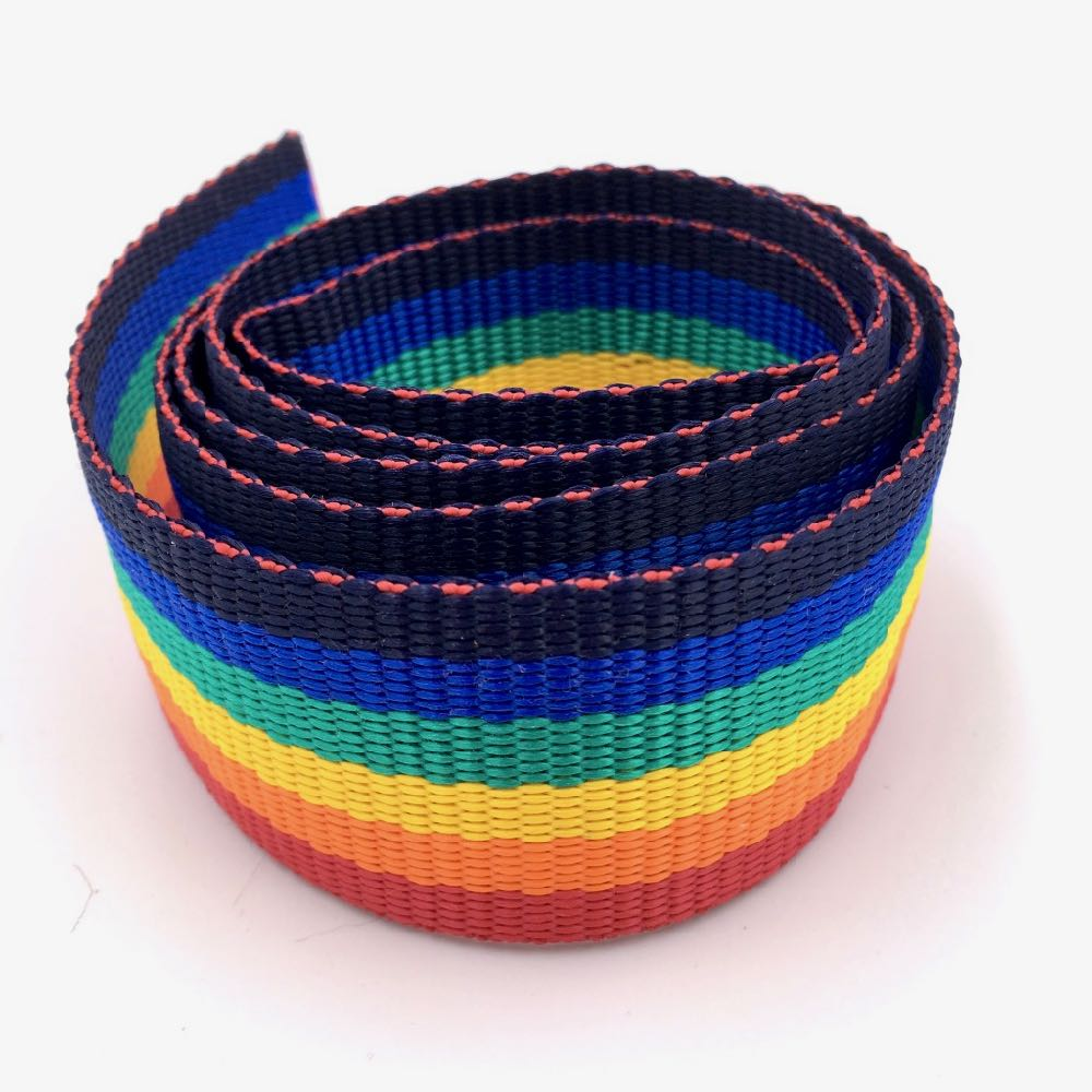 Rainbow Stripes poly webbing 38mm - Frumble Fabrics