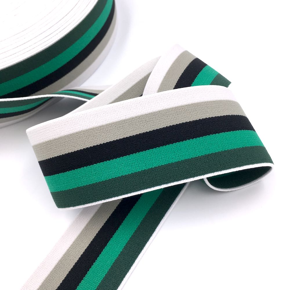 40mm Wide Stripe Waistband Elastic Forest - Frumble Fabrics