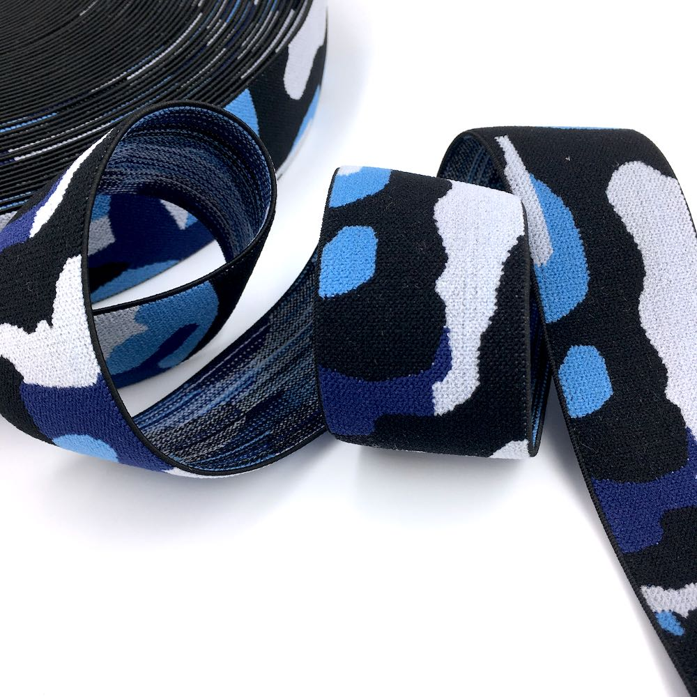 40mm Wide Soft Camouflage Waistband Elastic in bright colours perfect for waistbands and other dressmakimg and sewing projects