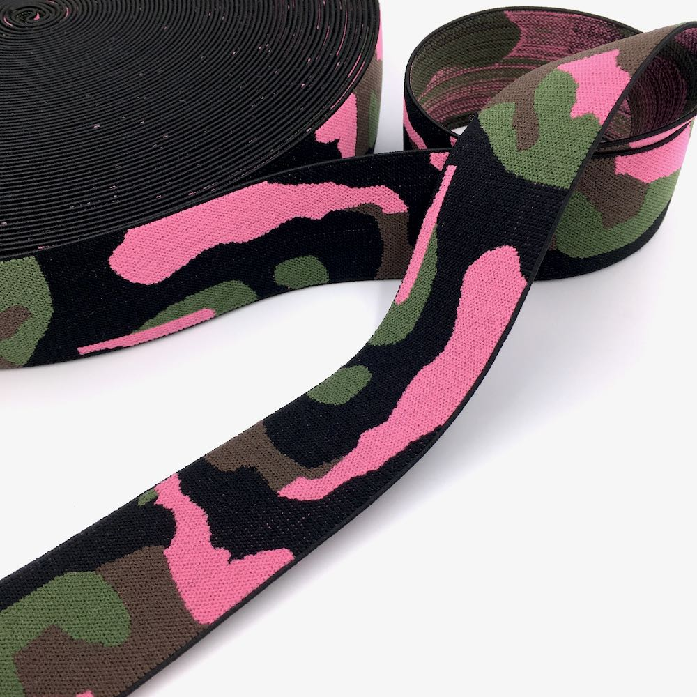40mm Wide Waistband Elastic Camo Blue - Frumble Fabrics